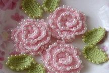 Crocheted flowers, trims and little things