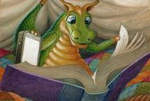 Cute dragons and books / Mostly Randal Spangler's dragons