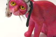 Cat Sculptures / These handmade kitty cats are OOAK (one of a kind) and will never be duplicated.  Most are 1/6 or 1/5 scale miniatures.  Some of them took longer to paint than they did to sculpt.  Check them out!