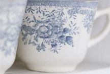 Delft  / accents of blue and white - reminds me of ginger pots and takes me back to my childhood