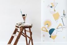 Geo : Get The Look, Living Space / Get The Look for your living space with Laura Felicity Design's Geo Collection; Wallpaper, Window Blinds (roman or roller), Ceiling Shades, Lampshades, and Cushions.