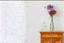 Dotty Bird : Get The Look, Living Room + Hallway / Get The Look for your living space with Laura Felicity Design's Dotty Bird Collection; Wallpaper, Window Blinds (roman or roller), Ceiling Shades, Lampshades, and Cushions.