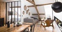 L O F T / Ideas & Inspiration for top storey apartments and attic spaces - Idées et inspiration pour l'aménagement sous les combles | #loft #attic #roofspace #combles #poutres #grenier