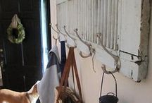 Upcycled Coat & Towel Racks / Upcycled coat & towel racks.  Ideas to organize a high traffic area