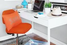 Home Office Ideas / When an office is part of your home, it should feel that way. An office should be functional and organized, but also inspirational. Check out ideas beyond the desk to inject some personality and #MyHomeSense style into your home work zone.