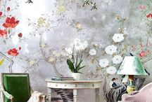 Chinoiserie / Chinoiserie pale gold and silver ideas