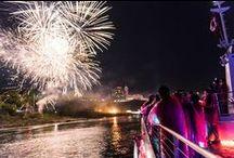 Niagara Falls Fireworks / Hornblower Niagara Cruises offers Evening Cruise Experiences. Enjoy the Falls illumination as a well as a stunning Fireworks display, from the base of Niagara Falls.