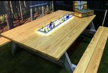 Fancy country picnic tables / Rare, souped-up country picnic tables.
