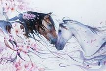 Just Two Horses...  Arts... Drawings, Paintings, Illustrations, Watercolors, Stained Glass, ect...
