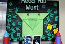 Library Displays / Bulletin Board, Wall, and Shelf Display Ideas