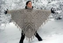 Ponchos e xailes em crochet