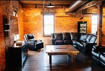The Crow's Nest Cigar Lounge at The Booking House / Our entire third floor of the old warehouse is our Cigar Lounge. this area is used for the groom and his groomsmen to get ready during the day and then the guests can enjoy it at night during the wedding reception. Who wouldn't want an indoor cigar lounge to keep guests entertained? Cheers to the Mr. & Mrs. they are the perfect match!