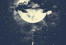 La lune, le soleil, la terre et les étoiles