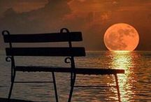 sunset and moonlight