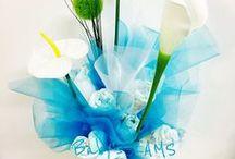 Bouquets de naissance couches et bavoirs / Centerpiece for a Baby Shower - Centre de table pour Baby Shower