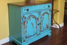Weathered and painted furniture