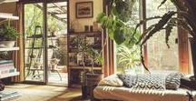 green room / houses, rooms, etc. with loads of plants. somewhere between boho and minimalist modern