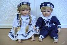 námořnický styl / oblečeni, modrá,bíla ,červená,moře ,panenky