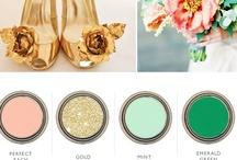 Gold, Mint, Peach & Emerald