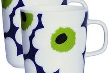Marimekko Finland porcelain and glass / Posliinia ja lasia... kahvikuppeja, Mariskooleja...