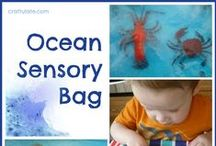 Beach theme for toddler class / Activities for toddler and pre-school classes related to ocean, beach, fish, and summer time.