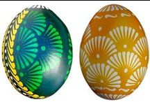 Decorated Easter Eggs / Hand-painted/dyed/decorated Easter eggs, mostly from Slovakia, Czech republic, Poland, Hungary and Ukraine, ... where it is a very old tradition.  ( Kraslice, Pisanki, Pysanky, ... )