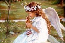 """Anjos / """"Santo Anjo do Senhor, meu zeloso guardador, se a ti me confiou a piedade divina, sempre me rege, me guarde, me governe, me ilumine. Amém"""".  / by Cida Tonet"""