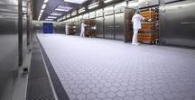 Food Industry / Food and beverage production areas, whether chocolate, dairy, meat, juice, wine or beer, require high-performance sanitary surfaces that are easy to clean and resistant to abrasion, staining and corrosion from harsh chemicals.  Agrob Buchtal Basis 3 tile series offers long term, fit-for-purpose floor coverings. Available in three different surface designs from R10 to R12V4 slip-resistance, Basis 3 provides the ideal hygienic solution.