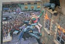 Julian Beever / A British pavement chalk artist, Julian Beever (1960-    ) creates realistic three-dimensional illusions that delight and deceive the public around the world.