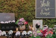 """RESCUE FLATS X CORY CHRISTOPHER / A styled shoot designed by Cory Christopher featuring an amazing moss wall, and a hand painted """"Shall we dance"""" wedding sign. A dresser was stuffed with gold, pink and champagne colored ballet flats."""