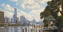Travel Art Brisbane / Home Decor.  Travel landscapes.  Paintings of my home town Brisbane Australia. Other interesting Brisbane info.