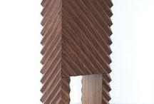 Arcana Entre-Deux (2015) / Emmanuel Babled - Limited Edition: 2015. The Arcana collection is a tribute to the know-how of high-quality cabinetwork. Inspired by the Wunderkammer concept, the outer surface of the monolithic walnut cabinet is patterned by a powerful angular relief. The Arcana series investigates the classic furniture model of the cabinet, using ordinary dimensions and conformations, yet introducing an unexpected sculptural dimension. Produced with help from the master cabinetmaker Anders Lunderskov.
