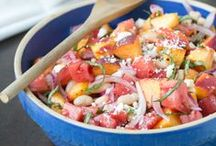 """Summer Salsa + Party Recipes / It's all about the salsa this summer - it's being served on baked chips, baked bread, grilled chicken, burgers and hot dogs!  With everyone following the """"healthy"""" trend, you're seeing salsa at all the parties. Plus salads, more salads and individual size desserts (aka: portion control desserts). / by Funsational"""