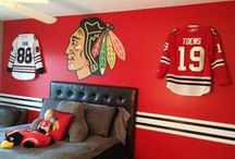 Chicago Blackhawks / Chicago Blackhawk Jerseys displayed using the Ultra Mount jersey display hanger. A great affordable alternative to jersey frames.