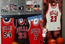 Chicago Bulls / Chicago Bulls jerseys displayed using the Ultra Mount jersey display hanger.  Only $29.99 each! A great affordable alternative to jersey frames.