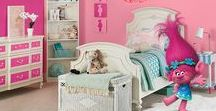 Girls Bedroom Ideas / Poppy's pink princess girl's bedroom is fit for a young queen. Re-create this look in your own home using True Value's EasyCare paint inspired by DreamWorks Trolls: http://bit.ly/2cTtwHh