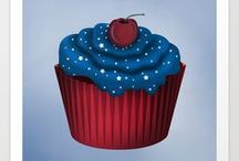 Framed Art by Cornucopia Art / Painted digital cupcakes with exquisite details for the holidays.
