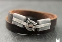 Jewelry for men / Men's jewelry made of silver and leather.