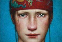 art - faces portraits / by Kizzy DeSilva
