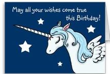 Unicorn Birthday Cards / A collection of Unicorn themed Birthday cards for people of all ages.