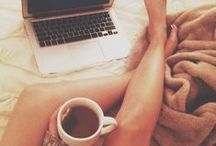 cozy / early morning, comfort, books, tea, hot chocolate