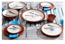 Coastal Tablescapes / Inspired by the Aegean Sea! Ceramic Tableware, Soft Accents in Summer Hues & Table Settings! Perfect for unique Coastal, Nautical and Navy Summer Tablescapes.