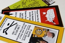 Sports + Stationery / Cards, save the date magnets, stickers, wedding invitations, birthday invitations.... and sports!  Baseball, football, hockey, soccor, basketball, and more.