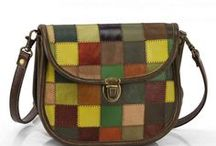 """MULTICOLORED LEATHER GOODS / Handcrafted leather bags and accessories.  Made in the technique of """"patchwork""""."""