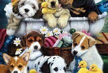 Cães pinturas desenhos