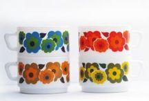 retro cups, mugs, glasses