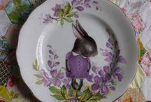 Handmade illustrated vintage china