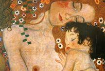 Mother & Child painting / Klimt inspired. Ecuadorian and Gujarati textiles. Palette: muted forest green, marigold, burnt orange, gold leaf
