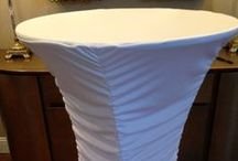 """Spandex Cocktail Tables / Available in all sizes and shapes and in 28 different colors!  24"""", 30"""", 32"""",  and 36""""- Lowboys and Highboys!  Visit http://lagunaspandexlinens.com or call Toll Free: 1-800-560-5755"""