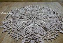 crochet trilho de mesa, toalhas e guardanapos